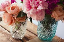 Large Parlane Turquoise Glass Honeycomb Candle Hurricane Vase Lamps Flower Vase