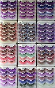 5pr Multi-Colored Long Full Volume False Eyelashes Fake Extension Colourful Bulk