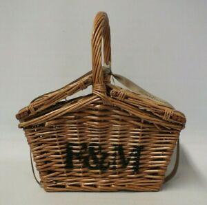 Fortnum & Mason Single Handled Small Huntsman Wicker Picnic Basket Hamper (Hol)