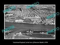 OLD LARGE HISTORIC PHOTO GATESHEAD ENGLAND AERIAL VIEW OF DUNSTON STAITHS c1950