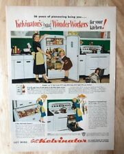 Original Print Ad  1950 KELVINATOR Kitchen1950s Refrigerator Wonder Workers