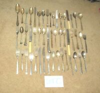 LOT OF 50 ANTIQUE SILVER PLATE STAINLESS FLATWARE SPOONS FORKS KNIVES ROGERS (C)
