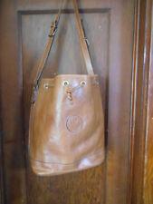 "Borsette Marella Brown Leather Drawstring Tote / Bucket Shoulder Bag ""RARE"""