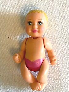 "Barbie Pregnant Midge Newborn Baby Girl Doll 2"" Pink Diaper 2002 Happy Family"