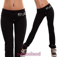 Pantaloni donna tuta leggings danza elastico sport fitness neri nuovi 7001AB