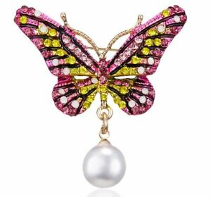 Vintage Retro 50's Style Rhinestone Pearl BUTTERFLY BROOCH Gift Dress Accessory