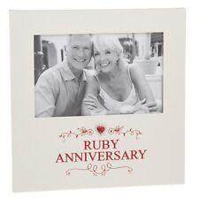 Ruby Wedding 40th Anniversary Photo Frame Diamnate Heart Gift Box