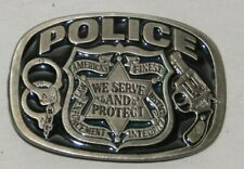 "Vintage 1988 Police ""We Serve & Protect"" Belt Buckle by Buckle Bakery USA"