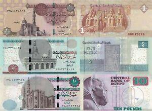 Egypt 3 PCS Set: 1,5,10 Pounds (2018-2021), p-71,p-72,p-73 UNC