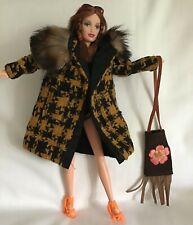 Boho Chic Barbie Doll with Fur Collar, Lined Coat & Suede-Look Shoulder Bag