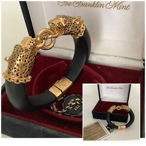 Vintage Franklin Mint Duchess Of Windsor 22ct Gold Plated Rubies Panther Bangle