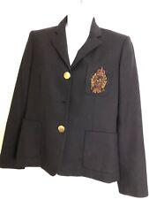 LAUREN Ralph Lauren Crested Blazer Jacket Size 6P Black 100% Wool FLAWS As Is