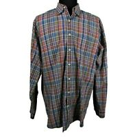 Mens Peter Millar XL Striped Multi Color Button Front Long Sleeve Casual Shirt