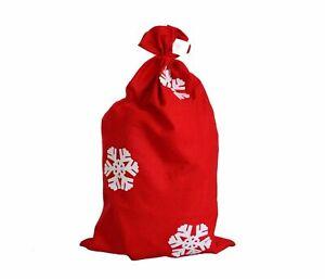 Nikolaussack Weihnachtssack in rot mit Schneeflocken 90 x 60 cm Geschenkesack