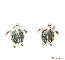 925 Sterling Silver Hawaiian Honu Sea Turtle Abalone Shell Paua Post Earrings