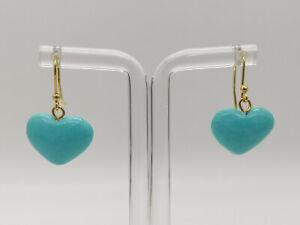 orecchini turchese pendenti cuore argento 925 placcato oro MADE IN ITALY donna