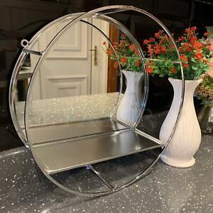 30cm Silver Round Mirror Wall Hanging Porthole Deep Metal Shelf Bath Room Mirror