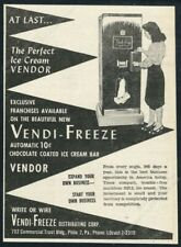 1947 Vendi Freeze coin-op ice cream bar vending machine photo vintage print ad