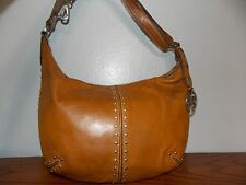 Michael Kors Light Brown Leather Rivets Shoulder Bag Purse Handbag L0117