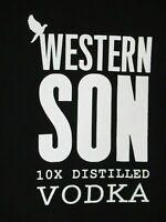 WESTERN SON 10XS DISTILLED VODKA - BLACK LARGE V-NECK WOMENS T-SHIRT B1522