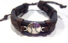 Baseball / Softball Brown leather & chord Bracelet  w ball charm - unisex