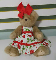BEARINGTON TEDDY BEAR CHERRY DRESS AND RED BOW JOINTED 30CM
