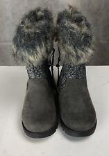 Girls Boots Size 6 Grey Fur Cuff Sparkle Detail Mantaray