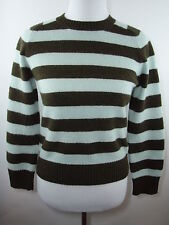 J.CREW Green & Mint Striped Lambs Wool Long Sleeve Sweater Women's Size M - EUC