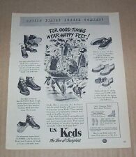 1947 print ad page - KEDS family sneakers shoes US Rubber wear happy feet art AD