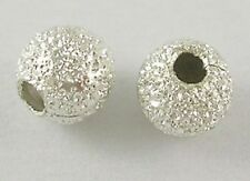 50 x 4 mm silver plated ROUND stardust perline trovare