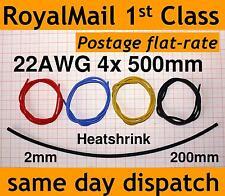 4x 500mm 22AWG silicone wire + 200mm Heatshrink (2mm to 1mm) for lipo bat