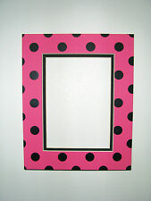 Picture Framing Mat 11x14 for 8x10 photo Polka Dot Hot Pink and Black