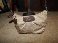Coach 46298 Ashley Swingpack Purse Handbag Crossbody Signature Brown Khaki Tan