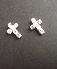 Silver Plated Rhinestone Cross stud earrings