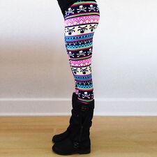 Women Lady Skinny Geometric Print Stretchy Jegging Casual Pants Slim Leggings S