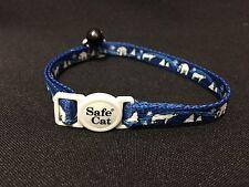 New Safe Cat Polar Bear Winter Scene Nylon Blue Cat Collar with a Black Bell!