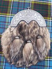 Men's Scottish Dress Kilt Sporran Leather Fox Fur Thistle Knot Antique Cantel