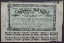 Brazil, Camara Municipal De Uberaba 100$000 Reis 9% Bond 1923 + Kupons