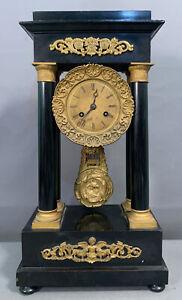 19thC Antique VICTORIAN Era PORTICO Style BRASS ORMOLU Ebonized MANTEL Old CLOCK