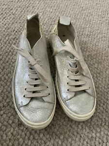 HENRY BEGUELIN Women's Silver Lace Up RUNNERS Size 37.5 EUC