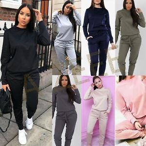 Women's Ladies Casual Long Sleeve Top Bottom Loungewear Tracksuit Suit 2 pc Set