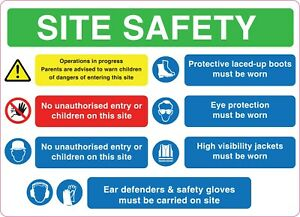 SITE SAFETY Sign Sticker Vinyl Health and safety 290 mm x 210mm