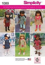 Simplicidad patrón de costura 18 pulgadas muñeca Ropa Vestido túnica Boina Chaleco 1089