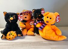 New w/ Tags Ty Beanie Babies Collection Lot of 4 Halloween Plush Cat, Ghost,Bear