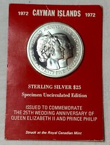 1972 STERLING SILVER CAYMAN ISLANDS $25 COIN UNC, SEALED SPECIMEN EDITION