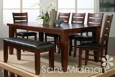 NEW! Barlow Dining Room Furniture 8 piece Set , Table w/leaf, 6 Chairs & Bench