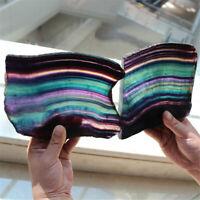AAAA Natural Purple Fluorite Quartz Rainbow Crystal Slice Specimen Healing+Stand