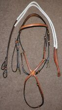 English Leather Full Size Grackle Bridle - London Tan With White Rubber Reins
