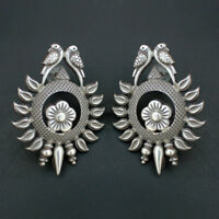 Gorgeous Antique Vintage Perrot Stud Earrings 925 Silver Tribal Ethnic Jewelry