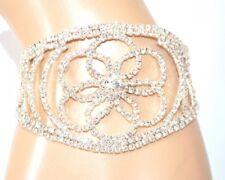 PULSERA mujer plata brazalete rígido strass flor ceremonia fiesta armband E120
